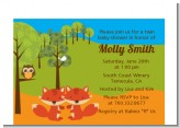 Forest Animals Twin Foxes - Baby Shower Petite Invitations