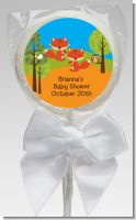 Forest Animals Twin Foxes - Personalized Baby Shower Lollipop Favors