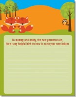 Forest Animals Twin Foxes - Baby Shower Notes of Advice