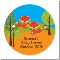 Forest Animals Twin Foxes - Round Personalized Baby Shower Sticker Labels