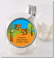 Forest Animals Twin Squirels - Personalized Baby Shower Candy Jar