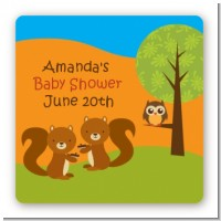 Forest Animals Twin Squirels - Square Personalized Baby Shower Sticker Labels