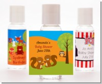Forest Animals Twin Squirels - Personalized Baby Shower Hand Sanitizers Favors