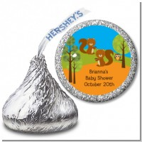 Forest Animals Twin Squirels - Hershey Kiss Baby Shower Sticker Labels