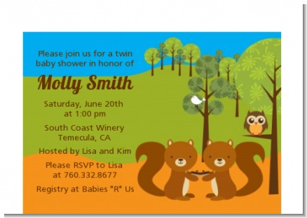 Forest Animals Twin Squirels - Baby Shower Petite Invitations