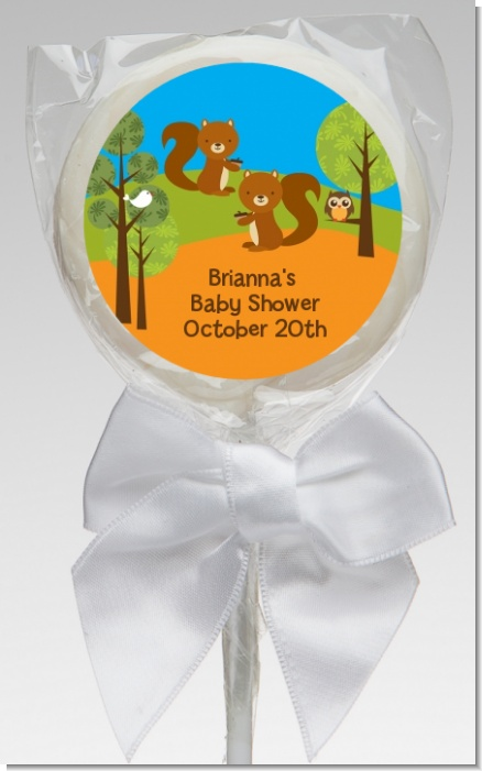 Forest Animals Twin Squirels - Personalized Baby Shower Lollipop Favors