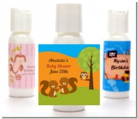 Forest Animals Twin Squirels - Personalized Baby Shower Lotion Favors