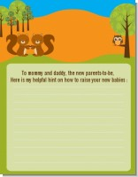 Forest Animals Twin Squirels - Baby Shower Notes of Advice