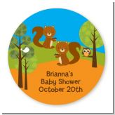 Forest Animals Twin Squirels - Round Personalized Baby Shower Sticker Labels