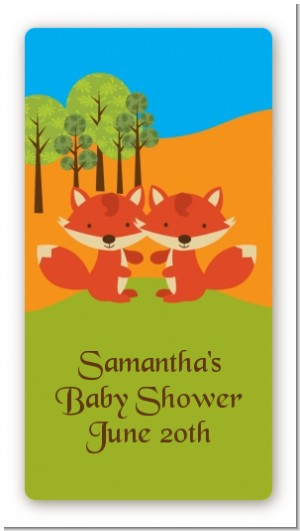 Forest Animals Twin Foxes - Custom Rectangle Baby Shower Sticker/Labels