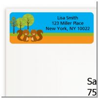 Forest Animals Twin Squirels - Baby Shower Return Address Labels