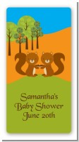 Forest Animals Twin Squirels - Custom Rectangle Baby Shower Sticker/Labels