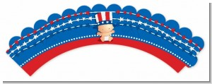 Fourth Of July Stars & Stripes - Baby Shower Cupcake Wrappers