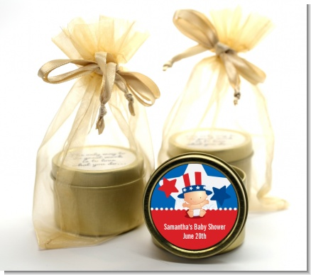 Fourth Of July Little Firecracker - Baby Shower Gold Tin Candle Favors