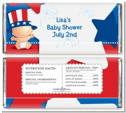Fourth Of July Little Firecracker - Personalized Baby Shower Candy Bar Wrappers