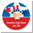 Fourth Of July Little Firecracker - Round Personalized Baby Shower Sticker Labels thumbnail
