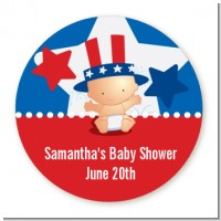 Fourth Of July Little Firecracker - Round Personalized Baby Shower Sticker Labels