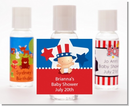 Fourth Of July Little Firecracker - Personalized Baby Shower Hand Sanitizers Favors