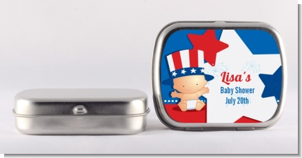 Fourth Of July Little Firecracker - Personalized Baby Shower Mint Tins
