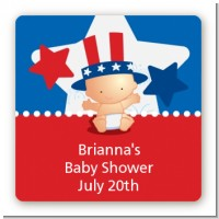Fourth Of July Little Firecracker - Square Personalized Baby Shower Sticker Labels