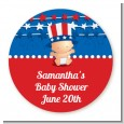 Fourth Of July Stars & Stripes - Round Personalized Baby Shower Sticker Labels thumbnail