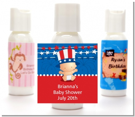 Fourth Of July Stars & Stripes - Personalized Baby Shower Lotion Favors