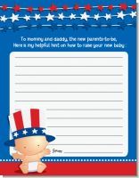 Fourth Of July Stars & Stripes - Baby Shower Notes of Advice