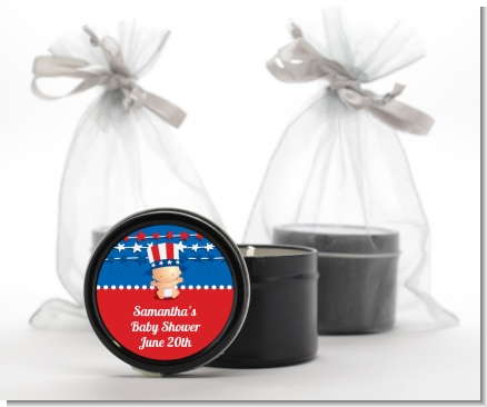 Fourth Of July Stars & Stripes - Baby Shower Black Candle Tin Favors