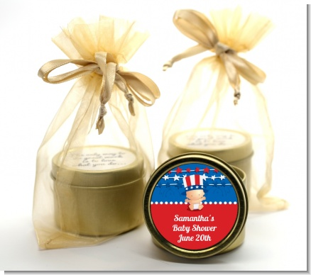 Fourth Of July Stars & Stripes - Baby Shower Gold Tin Candle Favors