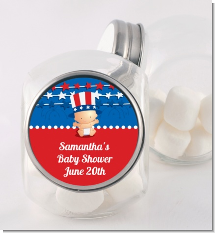 Fourth Of July Stars & Stripes - Personalized Baby Shower Candy Jar