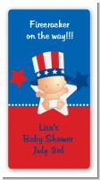 Fourth Of July Little Firecracker - Custom Rectangle Baby Shower Sticker/Labels