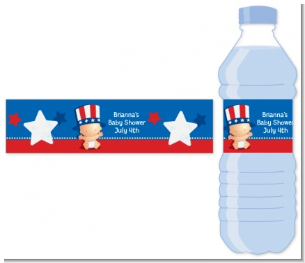 Fourth Of July Little Firecracker - Personalized Baby Shower Water Bottle Labels