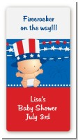 Fourth Of July Stars & Stripes - Custom Rectangle Baby Shower Sticker/Labels