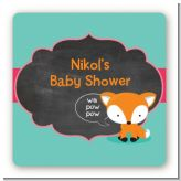 Fox and Friends - Square Personalized Baby Shower Sticker Labels