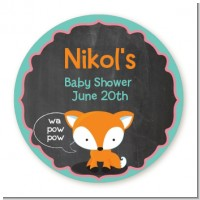 Fox and Friends - Round Personalized Baby Shower Sticker Labels