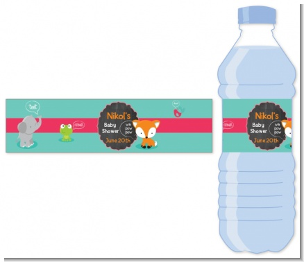 Fox and Friends - Personalized Baby Shower Water Bottle Labels
