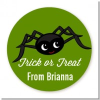 Friendly Spider - Round Personalized Halloween Sticker Labels