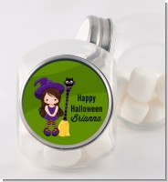 Friendly Witch Girl - Personalized Halloween Candy Jar
