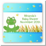 Froggy - Square Personalized Baby Shower Sticker Labels