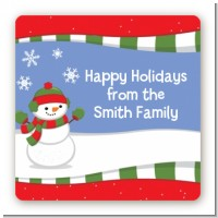 Frosty the Snowman - Square Personalized Christmas Sticker Labels