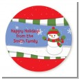 Frosty the Snowman - Round Personalized Christmas Sticker Labels thumbnail