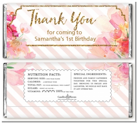 Fun to be One - 1st Birthday Girl - Personalized Birthday Party Candy Bar Wrappers