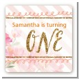 Fun to be One - 1st Birthday Girl - Square Personalized Birthday Party Sticker Labels thumbnail