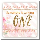 Fun to be One - 1st Birthday Girl - Square Personalized Birthday Party Sticker Labels