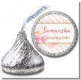 Fun to be One - 1st Birthday Girl - Hershey Kiss Birthday Party Sticker Labels thumbnail