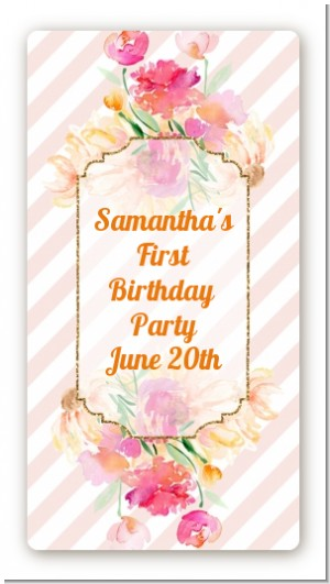Fun to be One - 1st Birthday Girl - Custom Rectangle Birthday Party Sticker/Labels