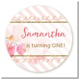 Fun to be One - 1st Birthday Girl - Round Personalized Birthday Party Sticker Labels