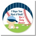 Future Baseball Player - Round Personalized Baby Shower Sticker Labels thumbnail