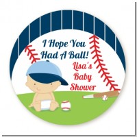 Future Baseball Player - Round Personalized Baby Shower Sticker Labels