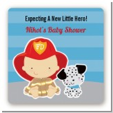Future Firefighter - Square Personalized Baby Shower Sticker Labels